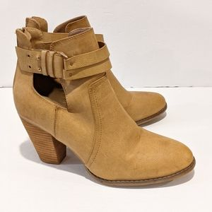 Call It Spring women's faux leather tan ankle boots sz 10